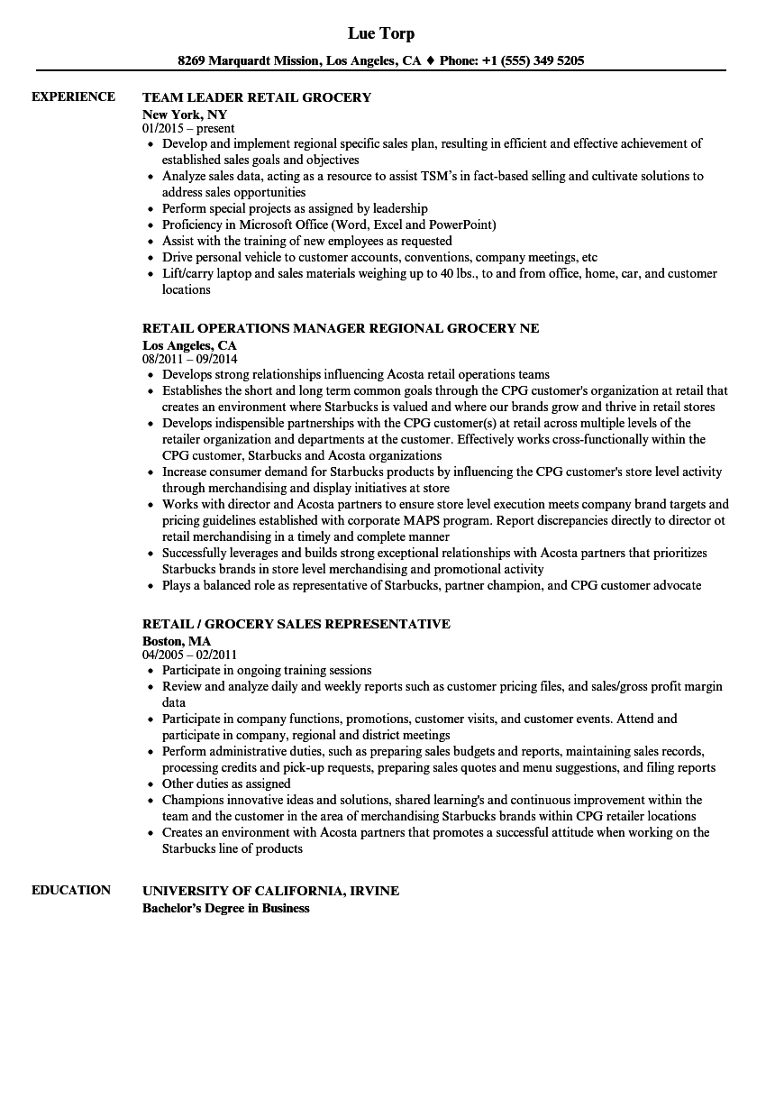 Download Grocery Retail Resume Sample As Image File