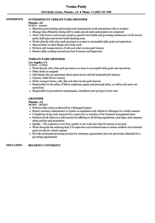 groomer resume samples