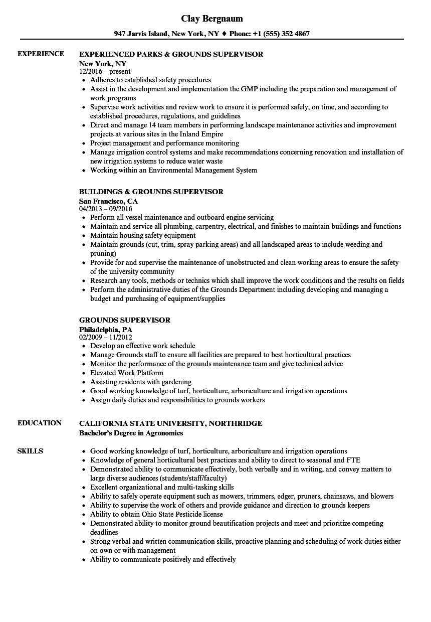 Grounds Supervisor Resume Samples | Velvet Jobs