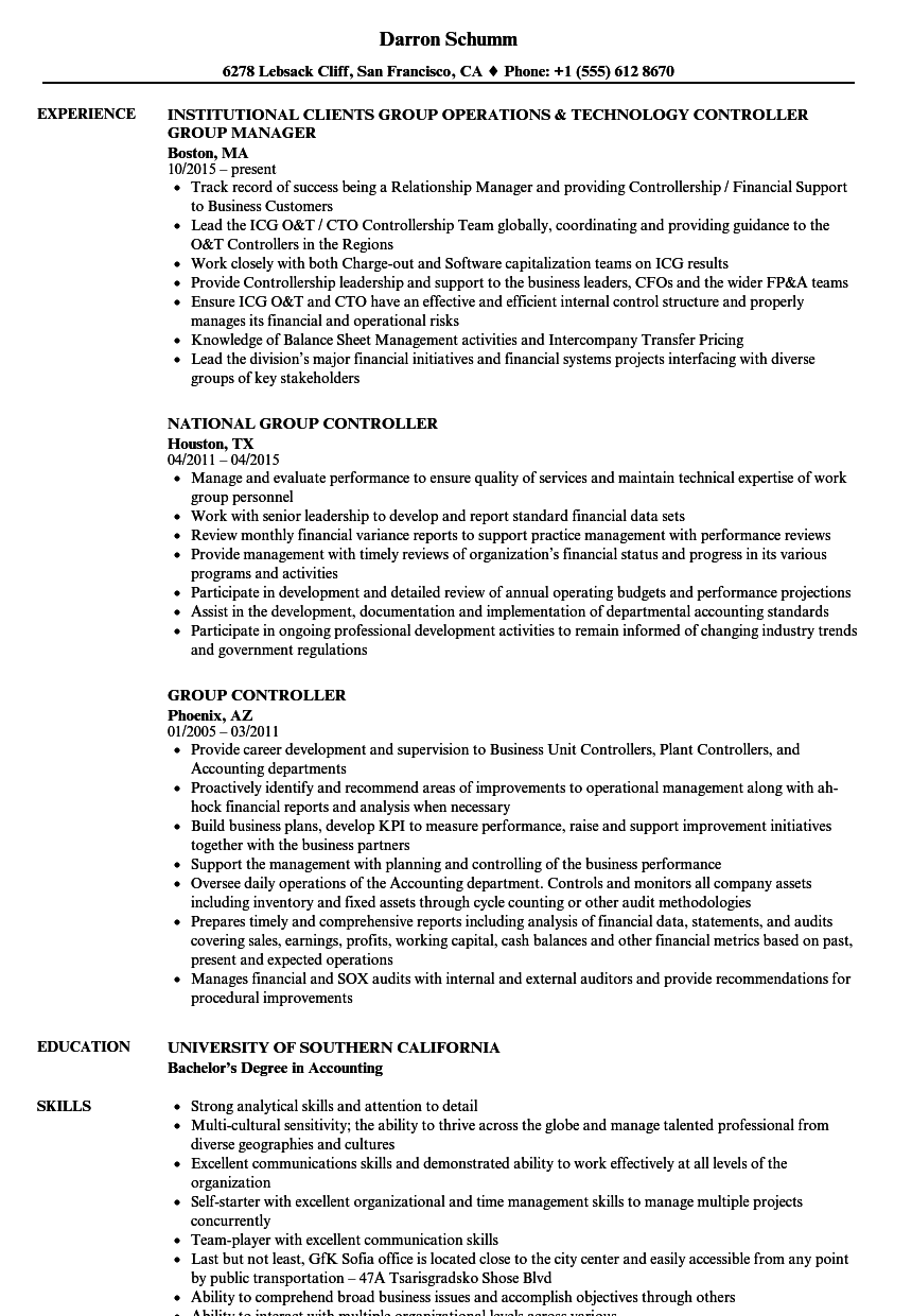 group controller resume samples
