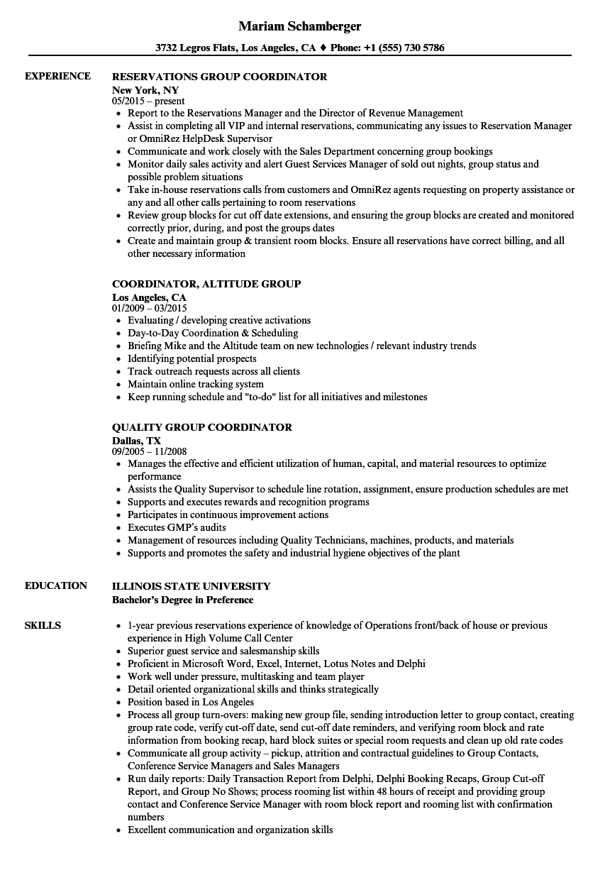 Download Group Coordinator Resume Sample As Image File