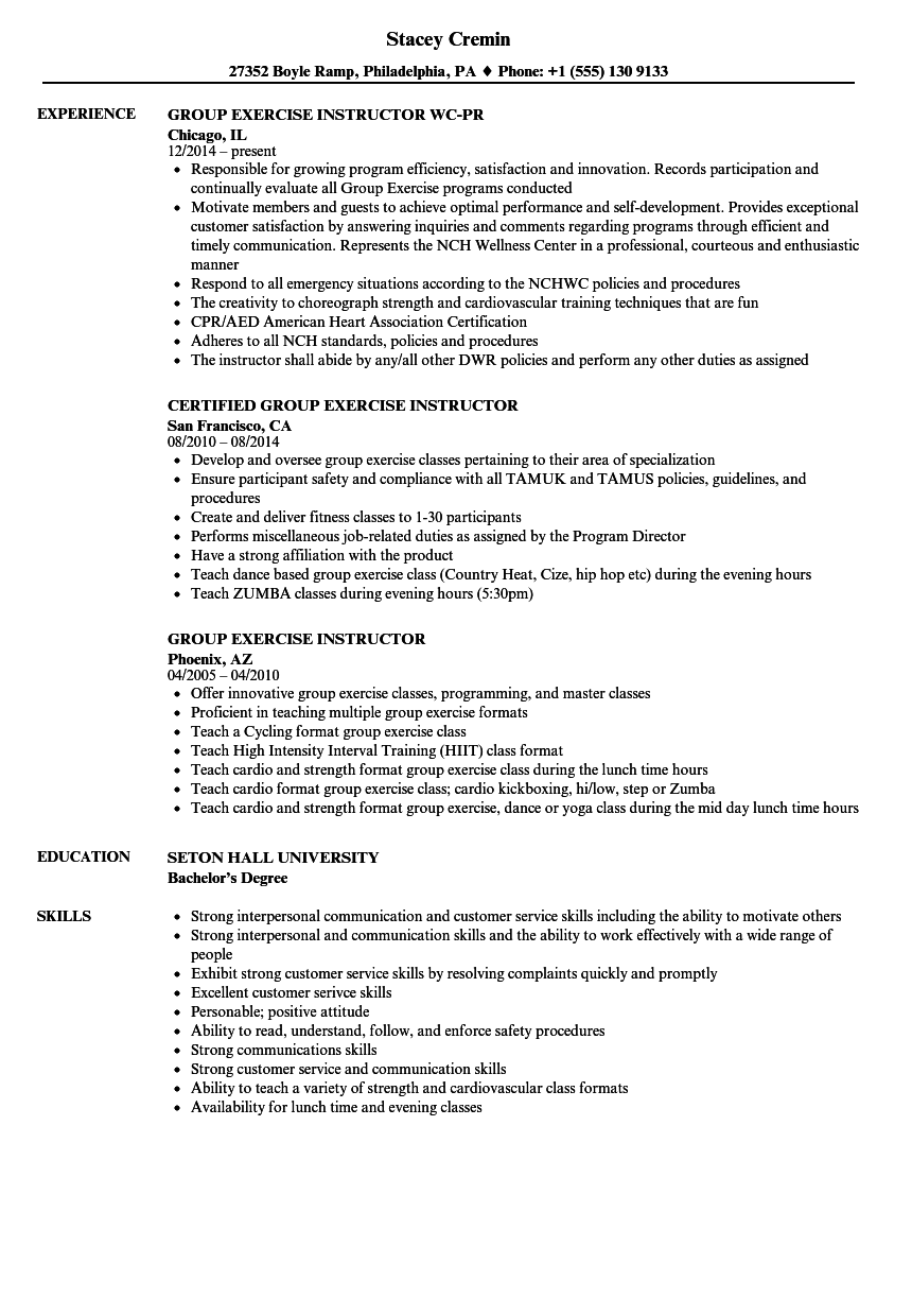 Group Exercise Instructor Resume Samples Velvet Jobs