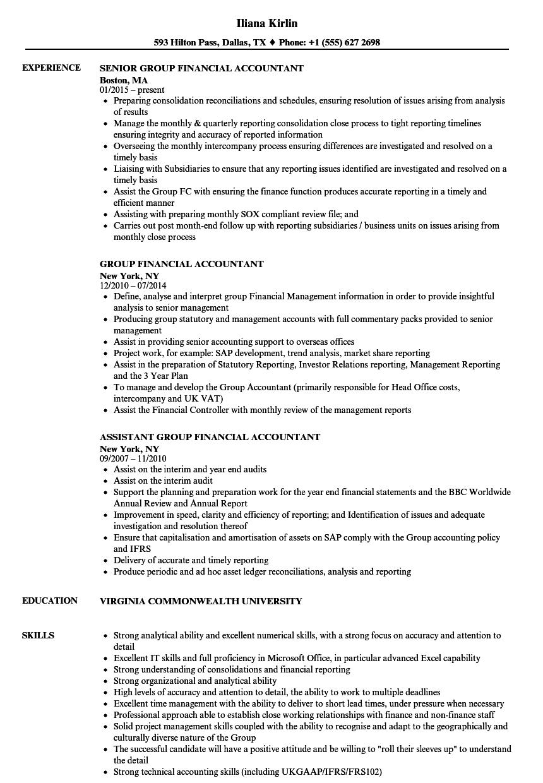 Group Financial Accountant Resume Samples | Velvet Jobs