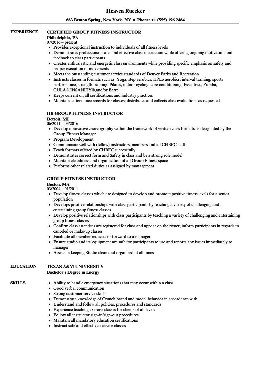 group fitness instructor resume samples velvet jobs