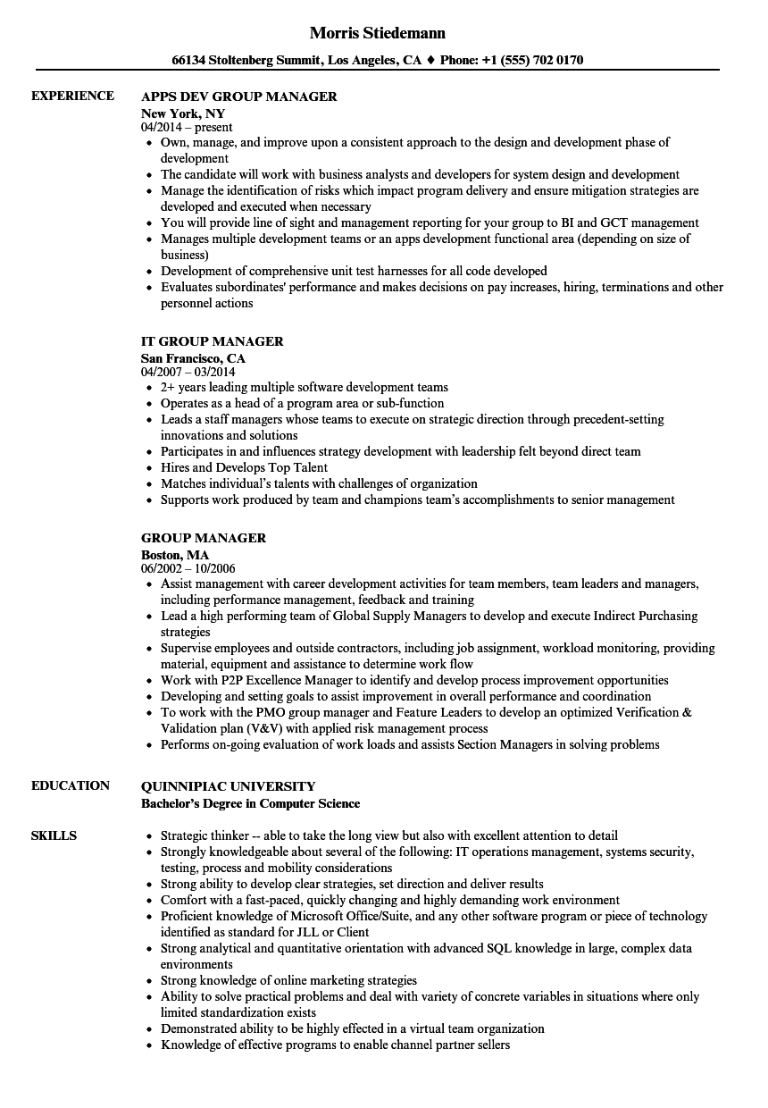 group manager resume samples