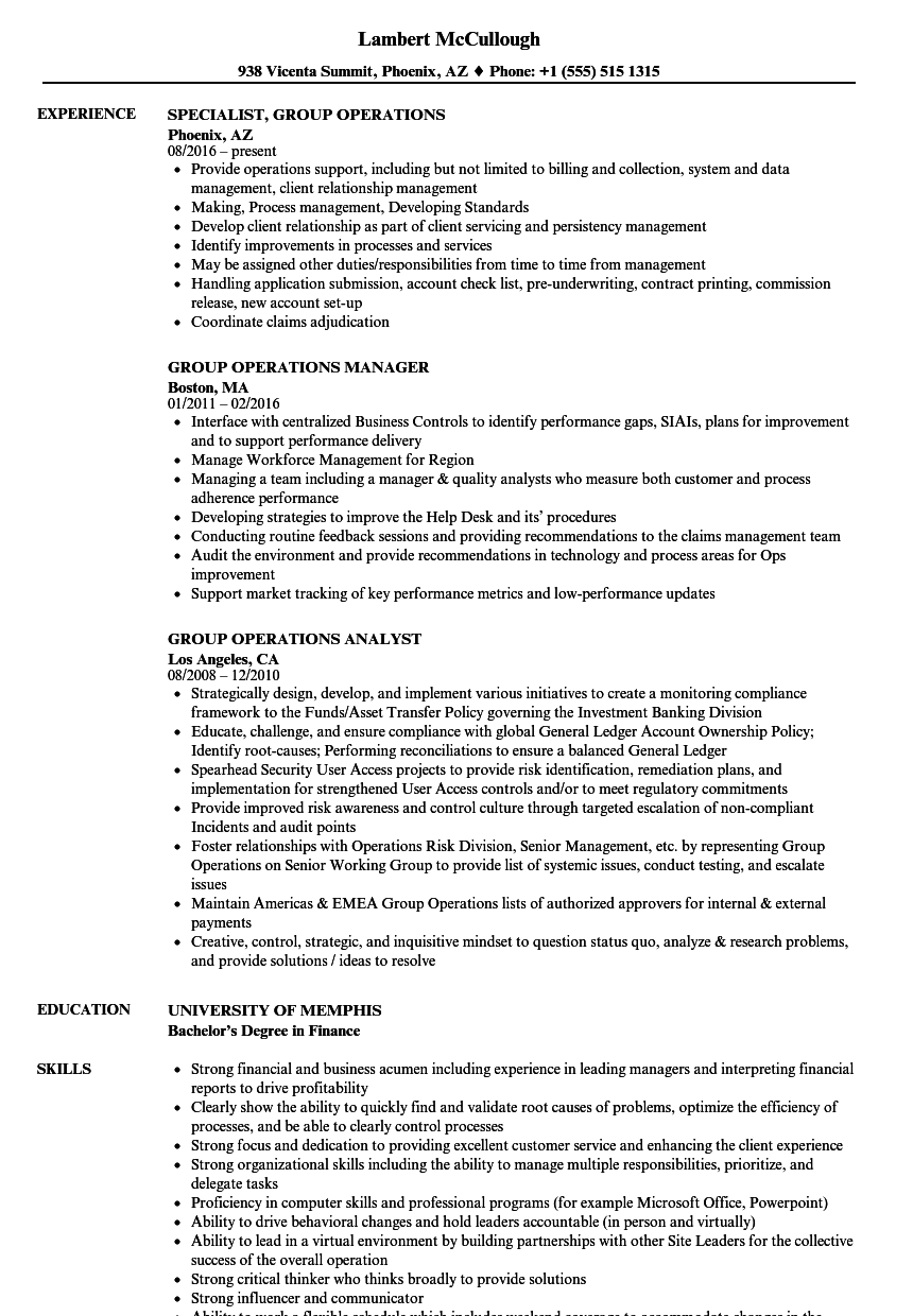 group operations resume samples
