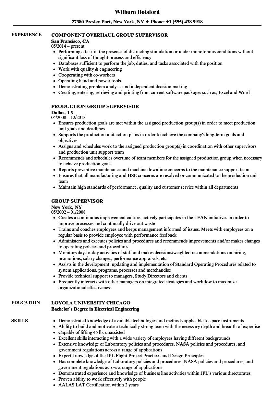 group supervisor resume samples