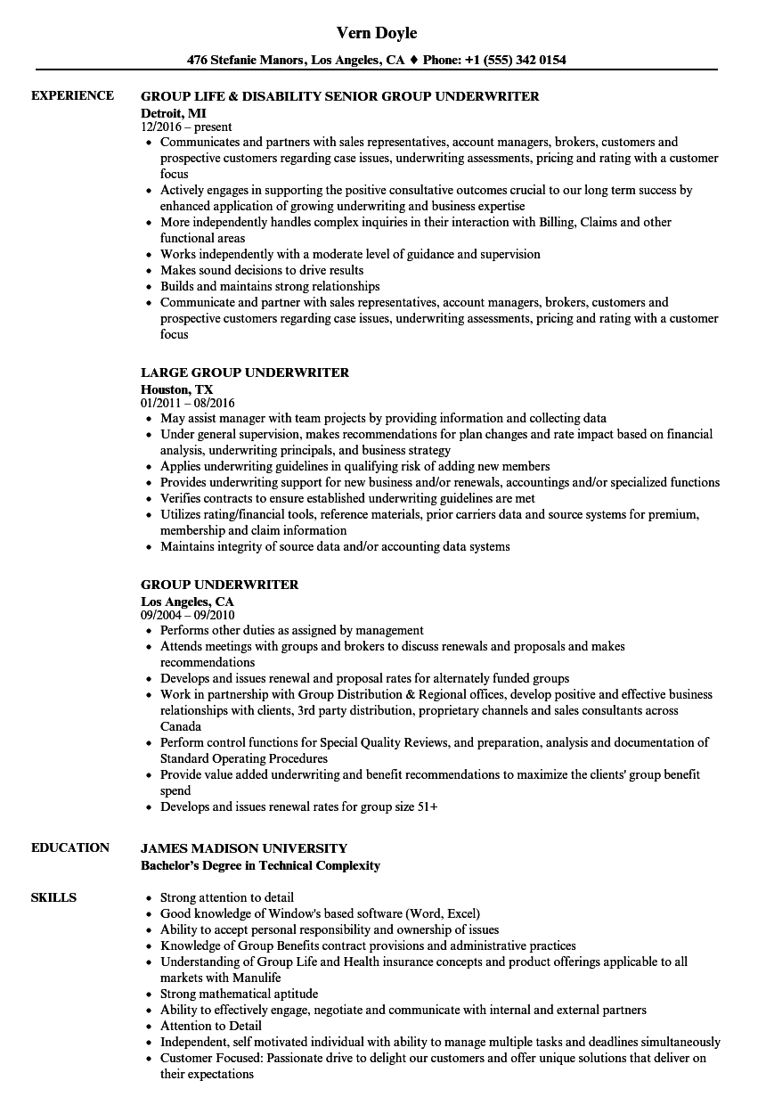 group underwriter resume samples