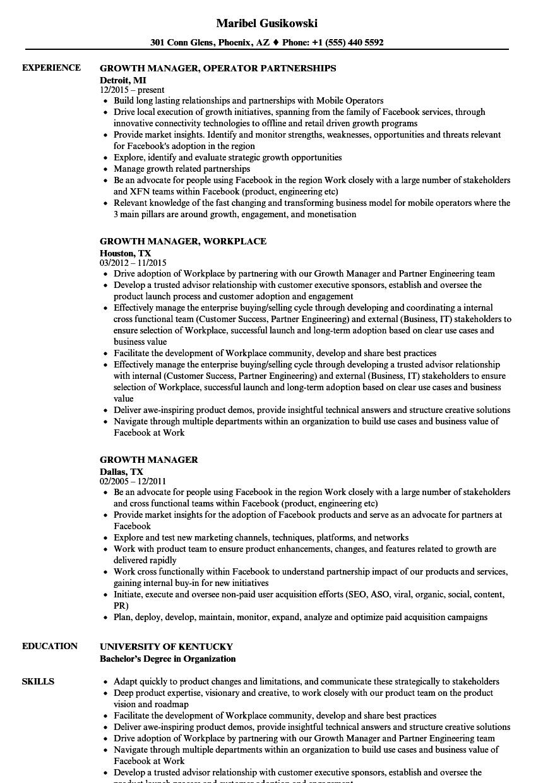 Growth Manager Resume Samples Velvet Jobs