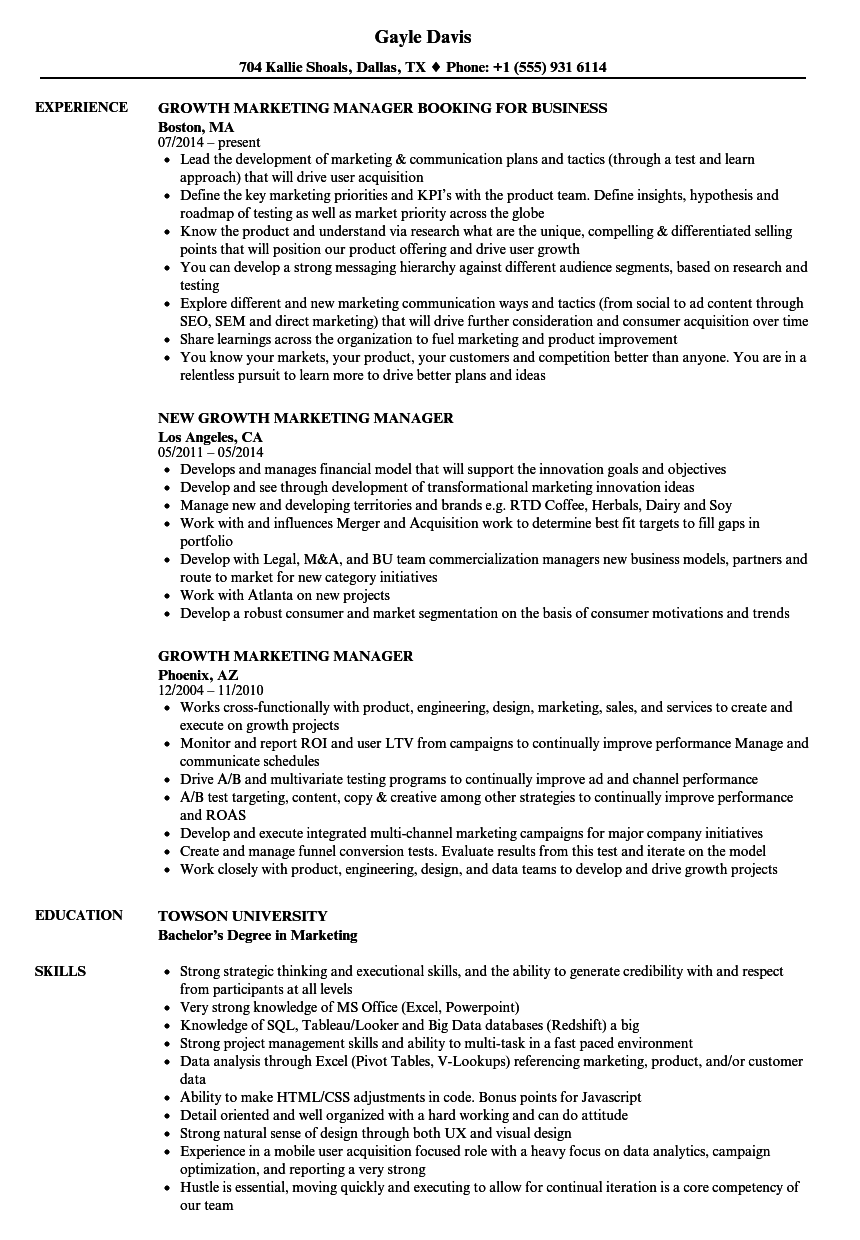 Growth Marketing Manager Resume Samples | Velvet Jobs