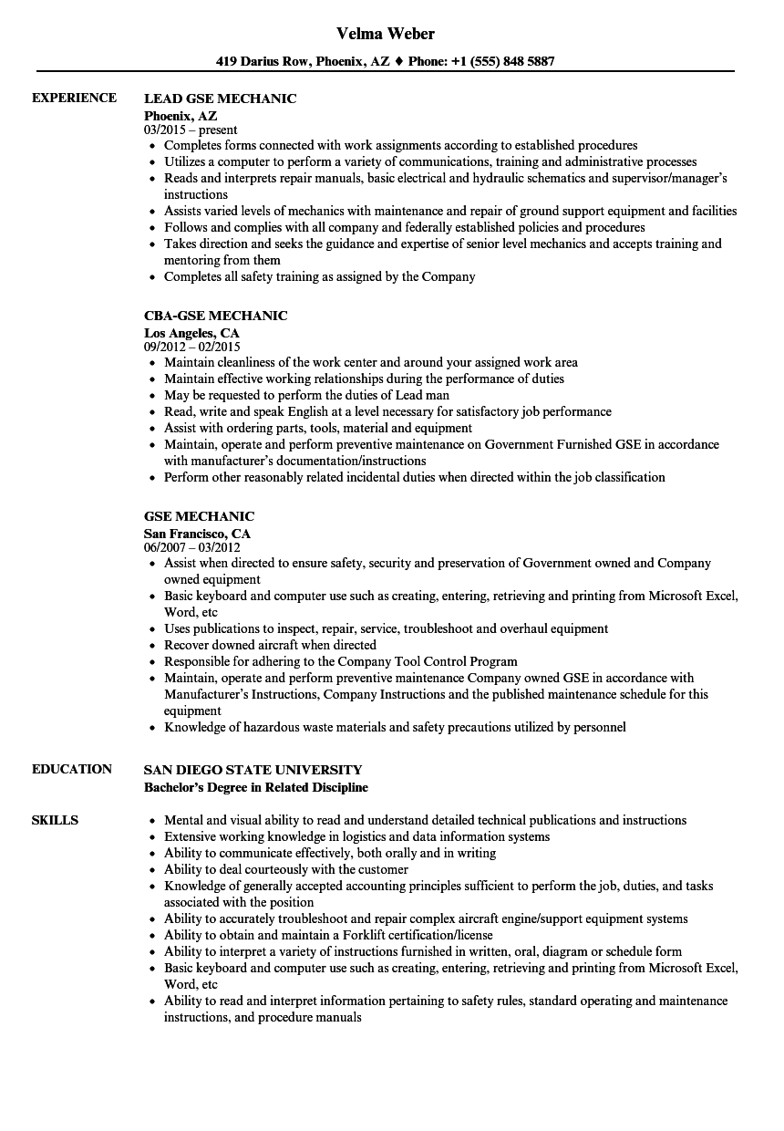 download gse mechanic resume sample as image file