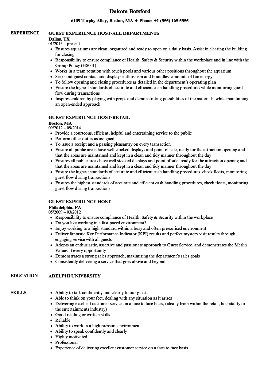 Guest Experience Host Resume Samples | Velvet Jobs