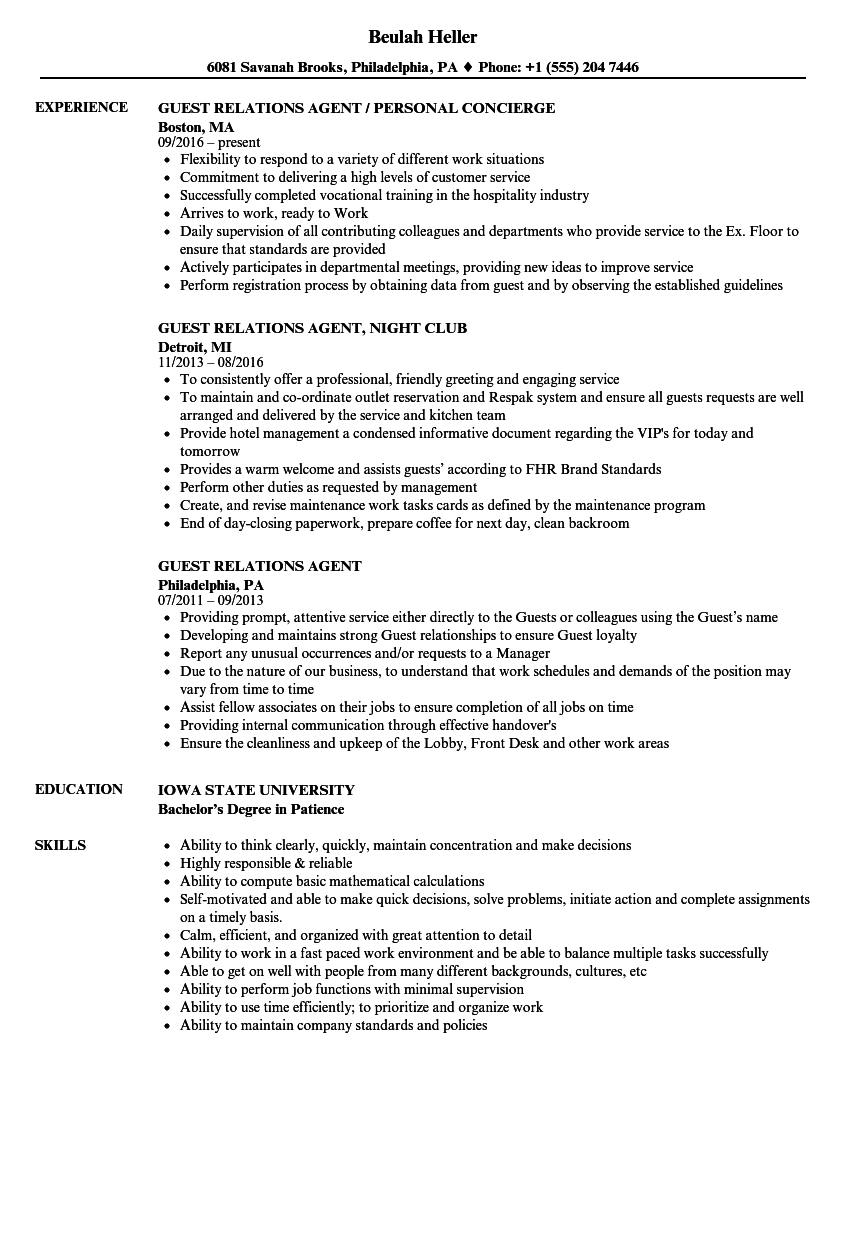 guest relations agent resume samples