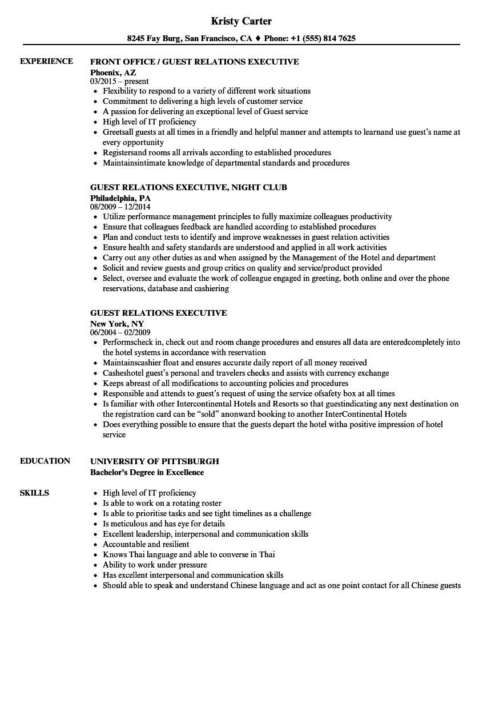 guest relations executive resume samples  velvet jobs