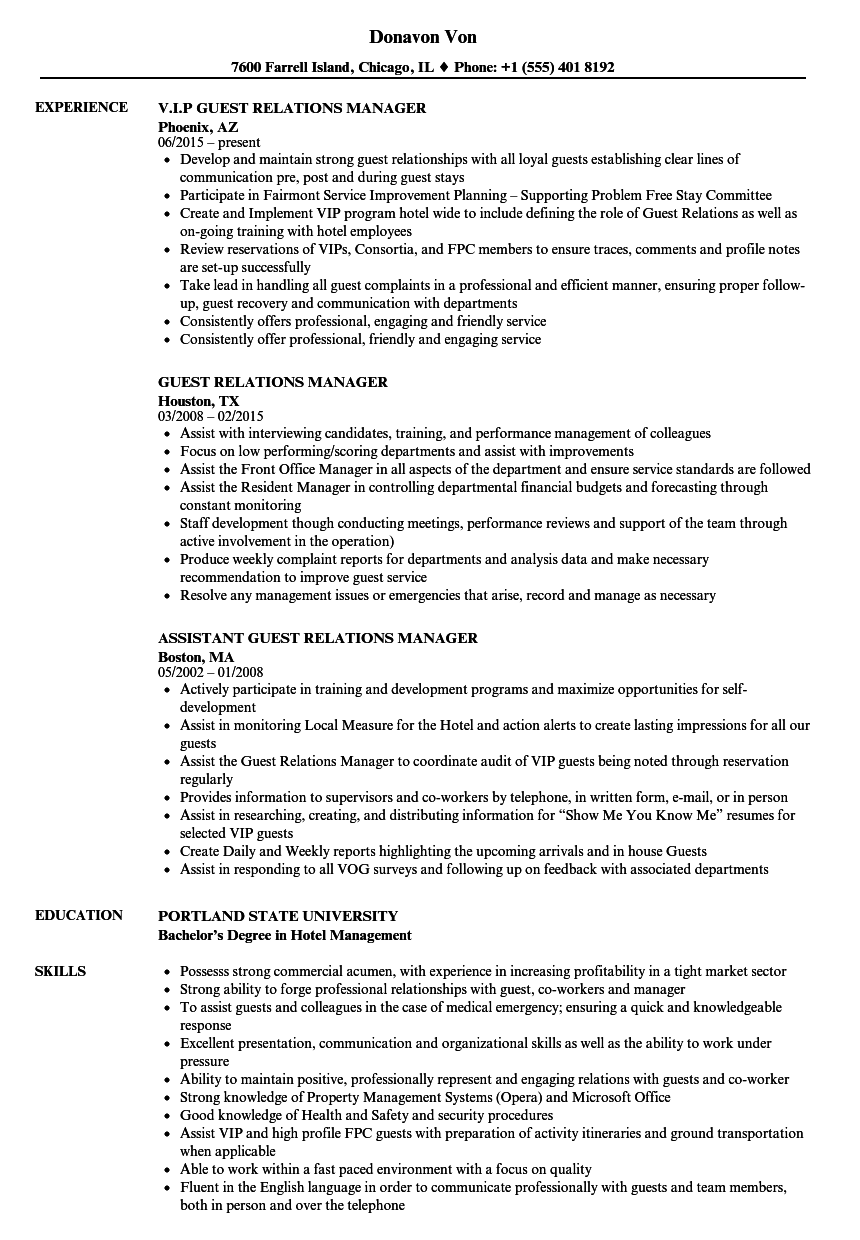 Guest Relations Manager Resume Samples | Velvet Jobs