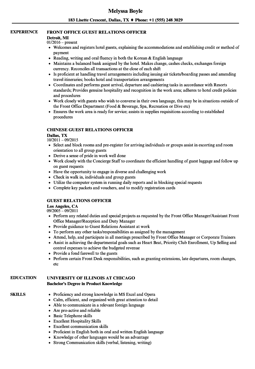 guest relations officer resume samples
