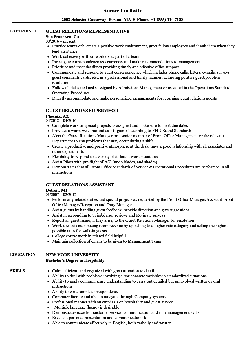 Guest Relations Resume Samples | Velvet Jobs