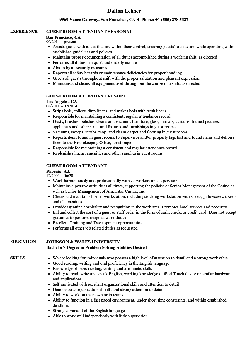 Guest Room Attendant Resume Samples Velvet Jobs