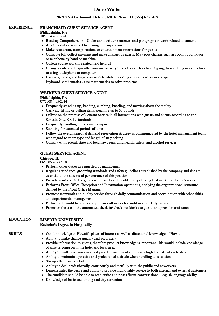 Guest Service Agent Resume Samples Velvet Jobs