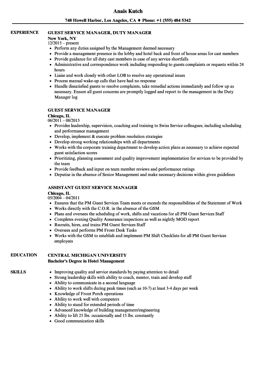 Download Guest Service Manager Resume Sample As Image File  Guest Services Resume