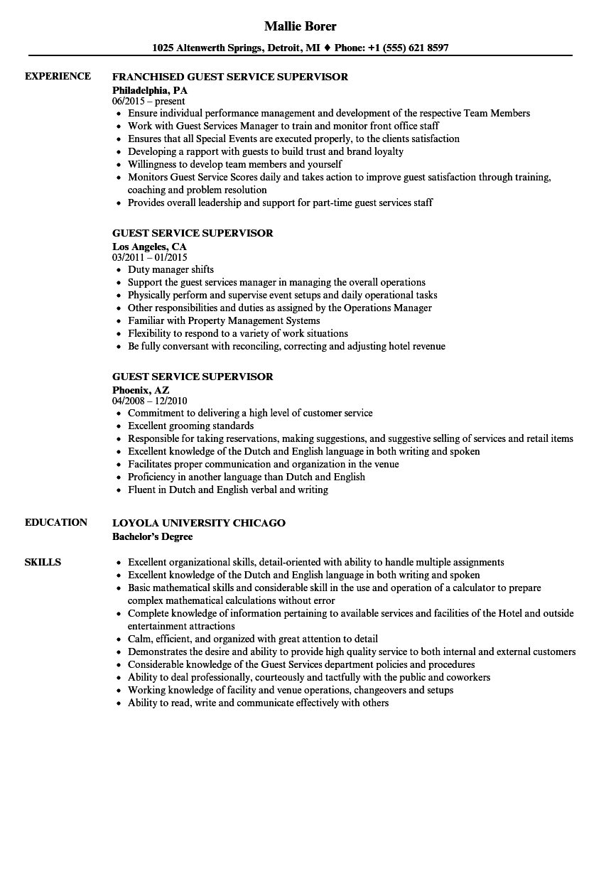Download Guest Service Supervisor Resume Sample As Image File