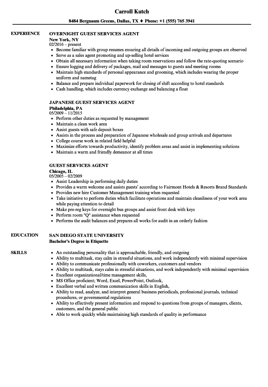 Guest Services Agent Resume Samples Velvet Jobs