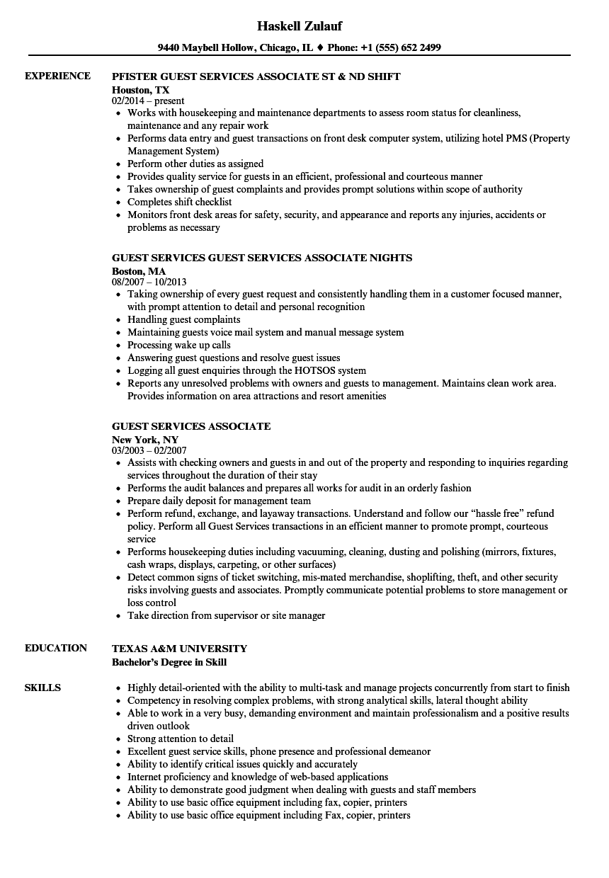 Download Guest Services Associate Resume Sample As Image File  Guest Services Resume