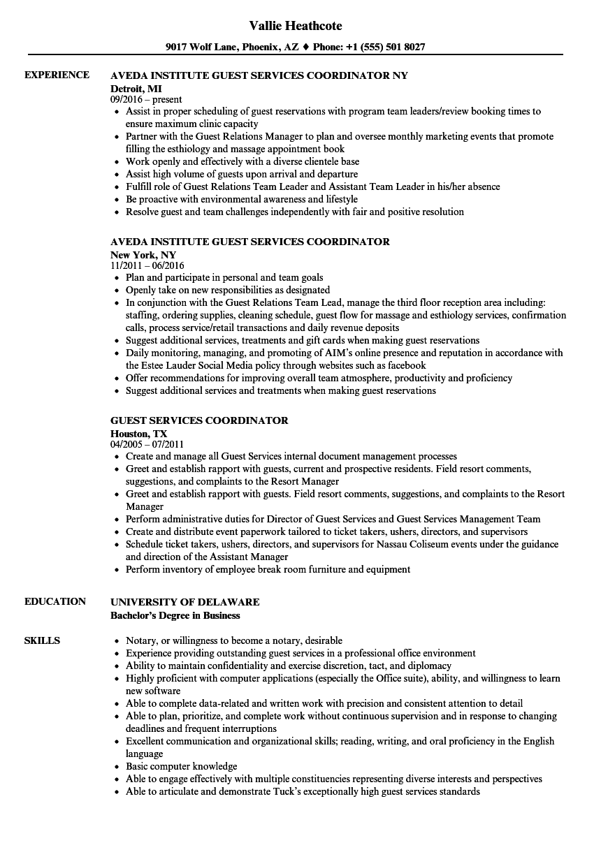 guest services coordinator resume samples