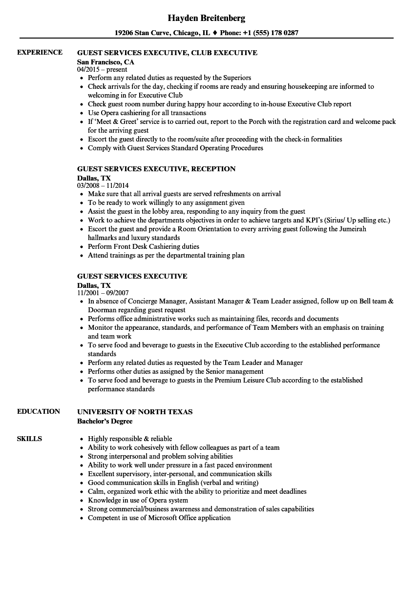 guest services executive resume samples