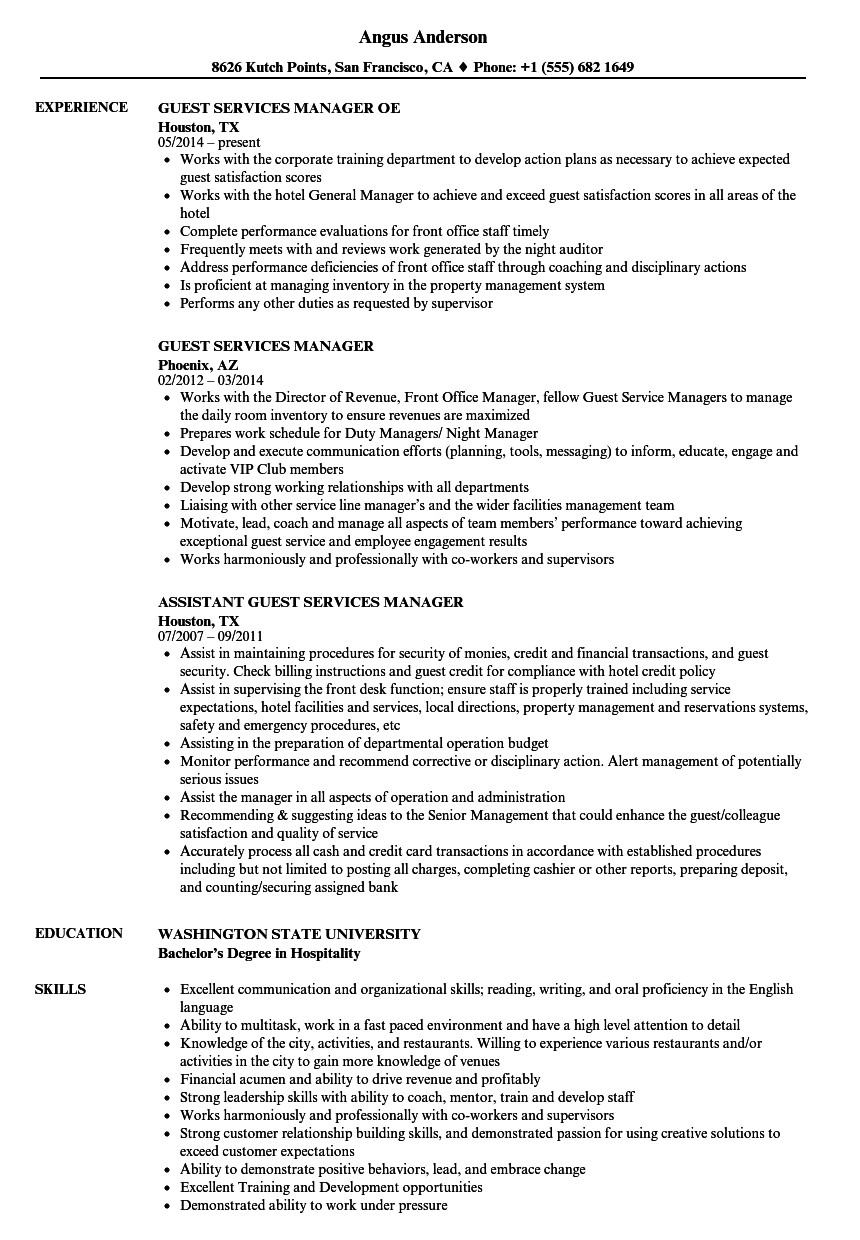 Guest Services Manager Resume Samples Velvet Jobs