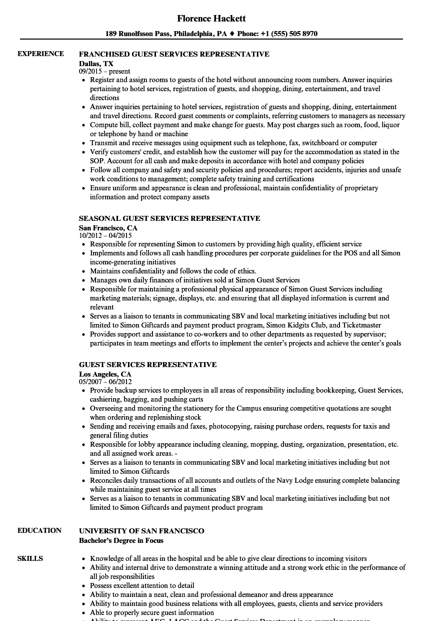 Download Guest Services Representative Resume Sample As Image File
