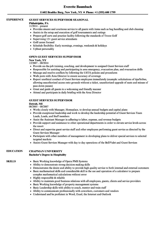Guest Services Supervisor Resume Samples | Velvet Jobs