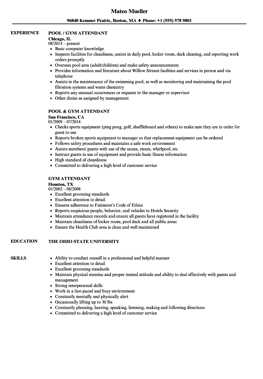 GYM Attendant Resume Samples Velvet Jobs