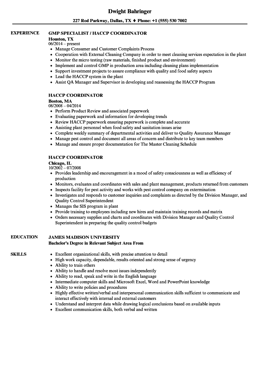 haccp coordinator resume samples