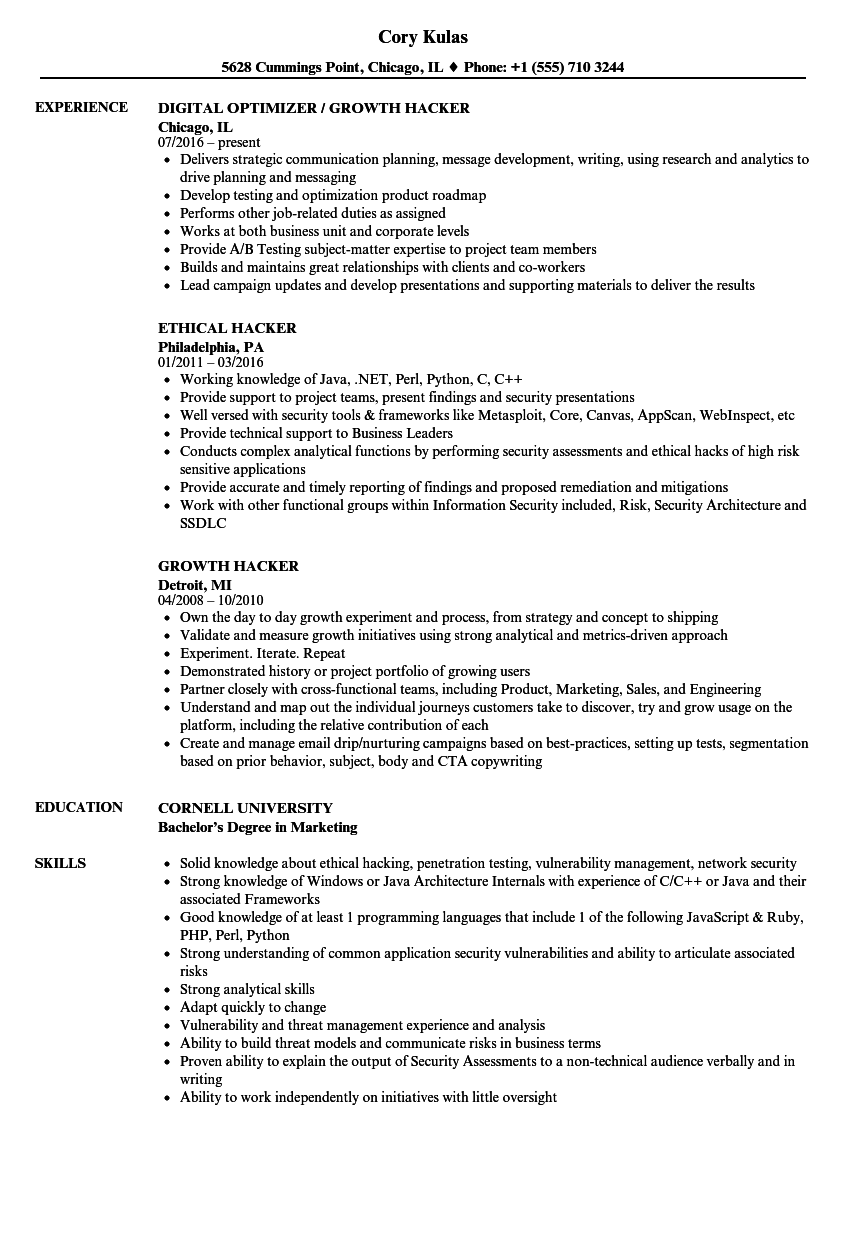 Hacker Resume Samples | Velvet Jobs