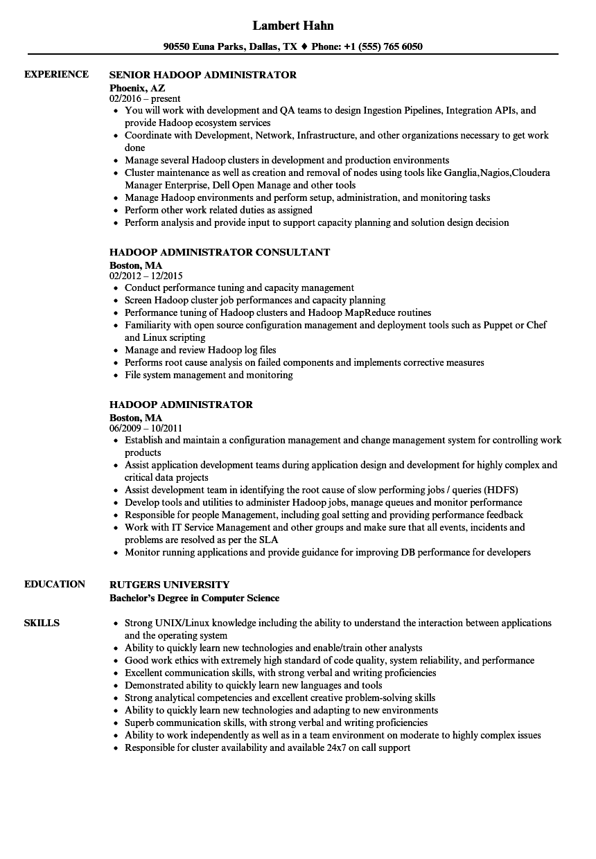Hadoop Administrator Resume Samples | Velvet Jobs
