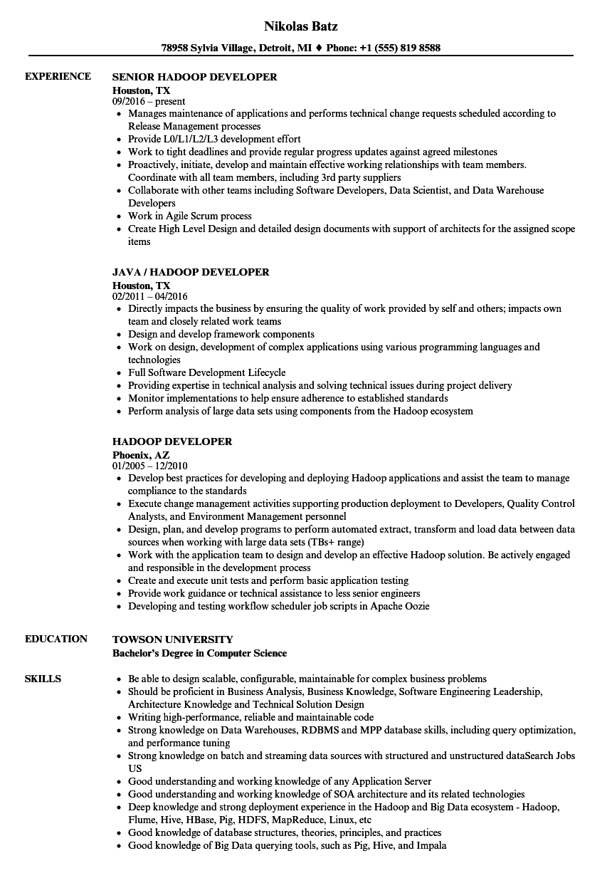 Hadoop Developer Resume Samples Velvet Jobs