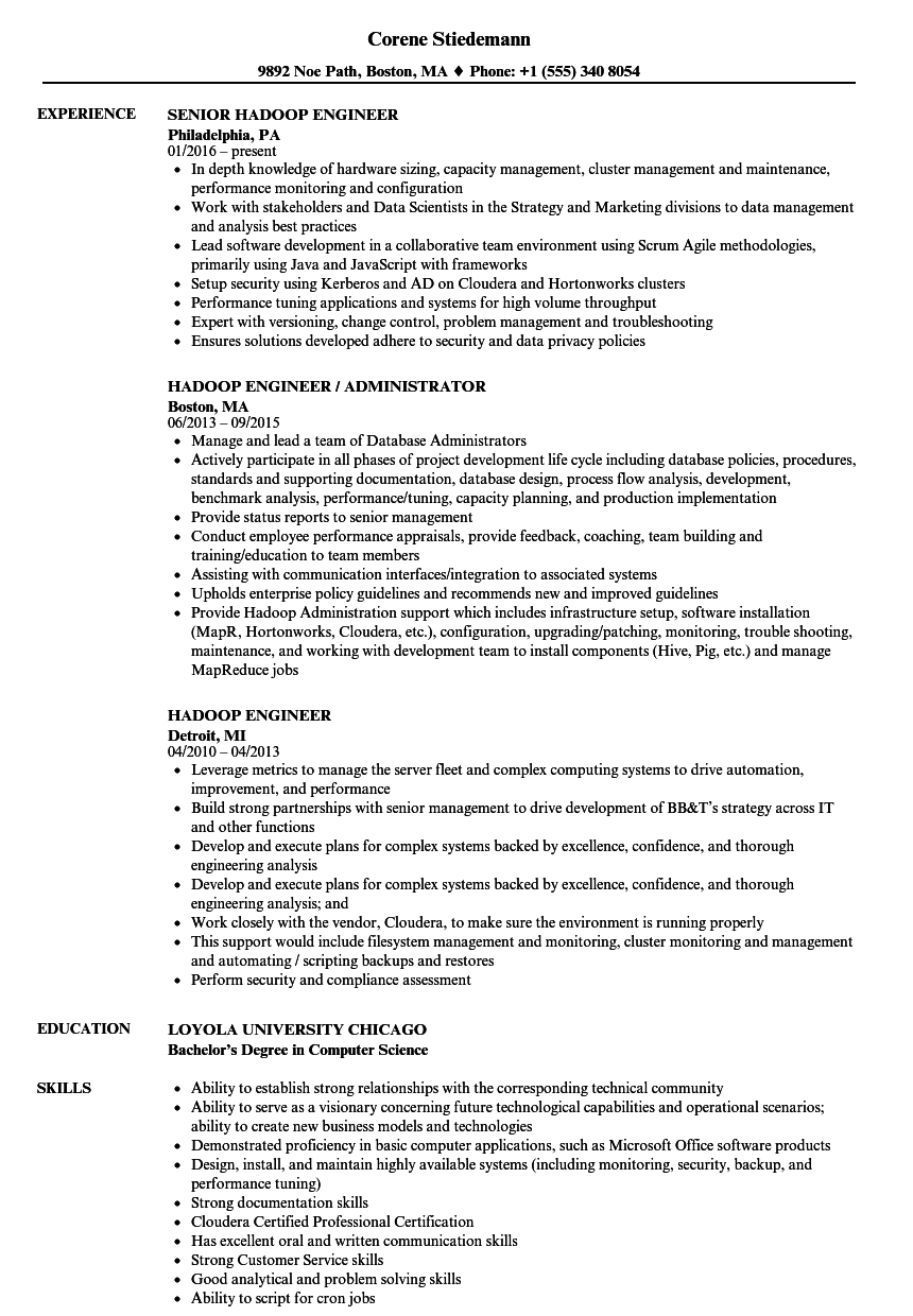 hadoop engineer resume samples