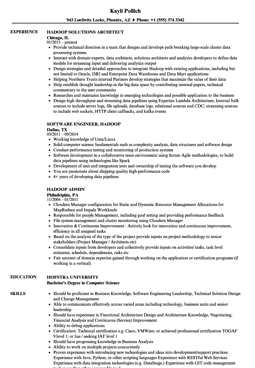 Hadoop Resume Samples Velvet Jobs