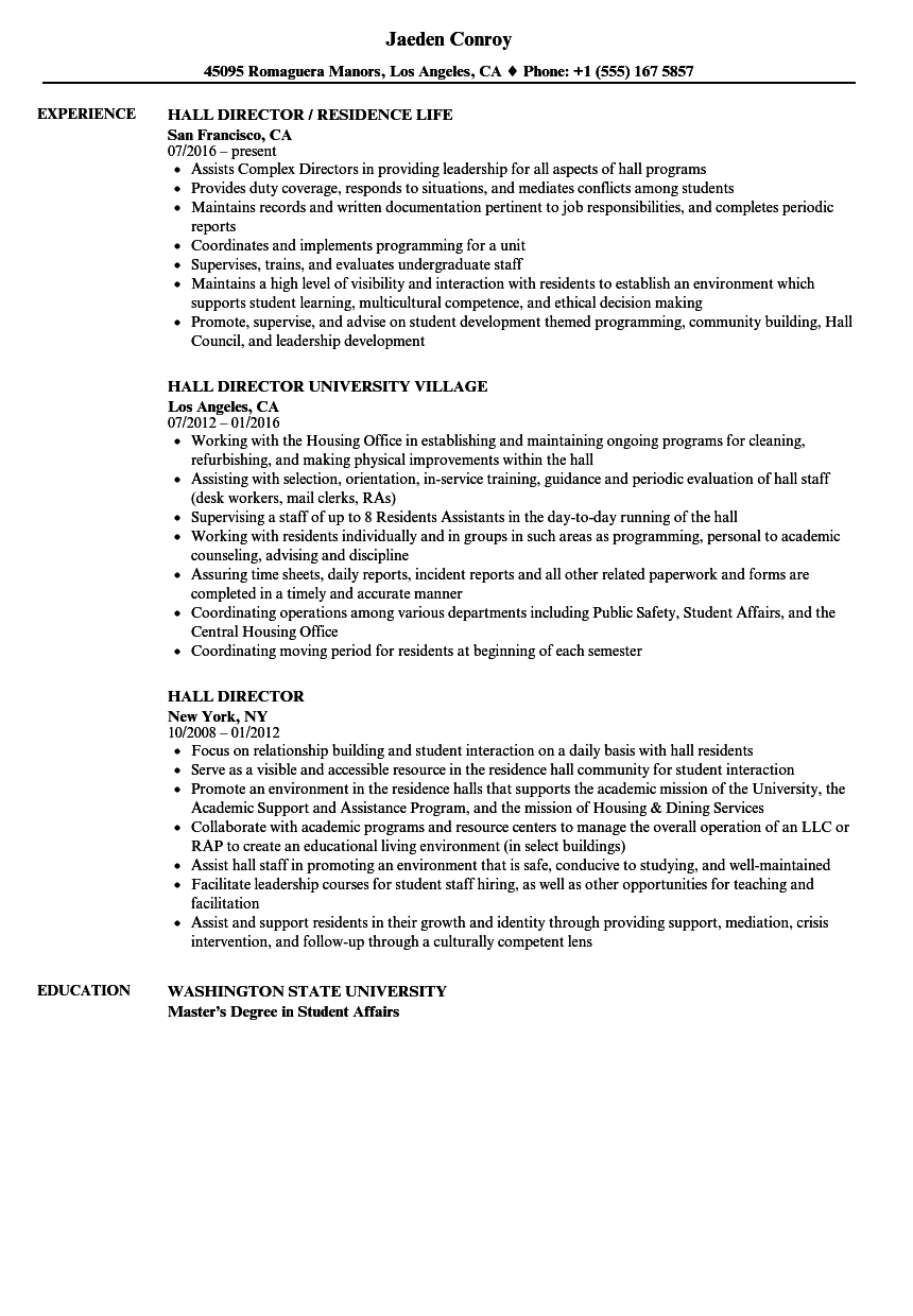 hall director resume samples