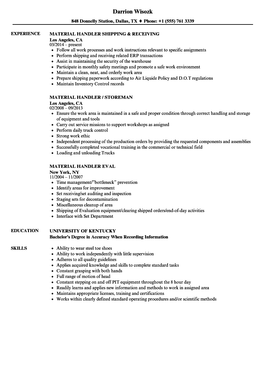 Handler Material Resume Samples Velvet Jobs