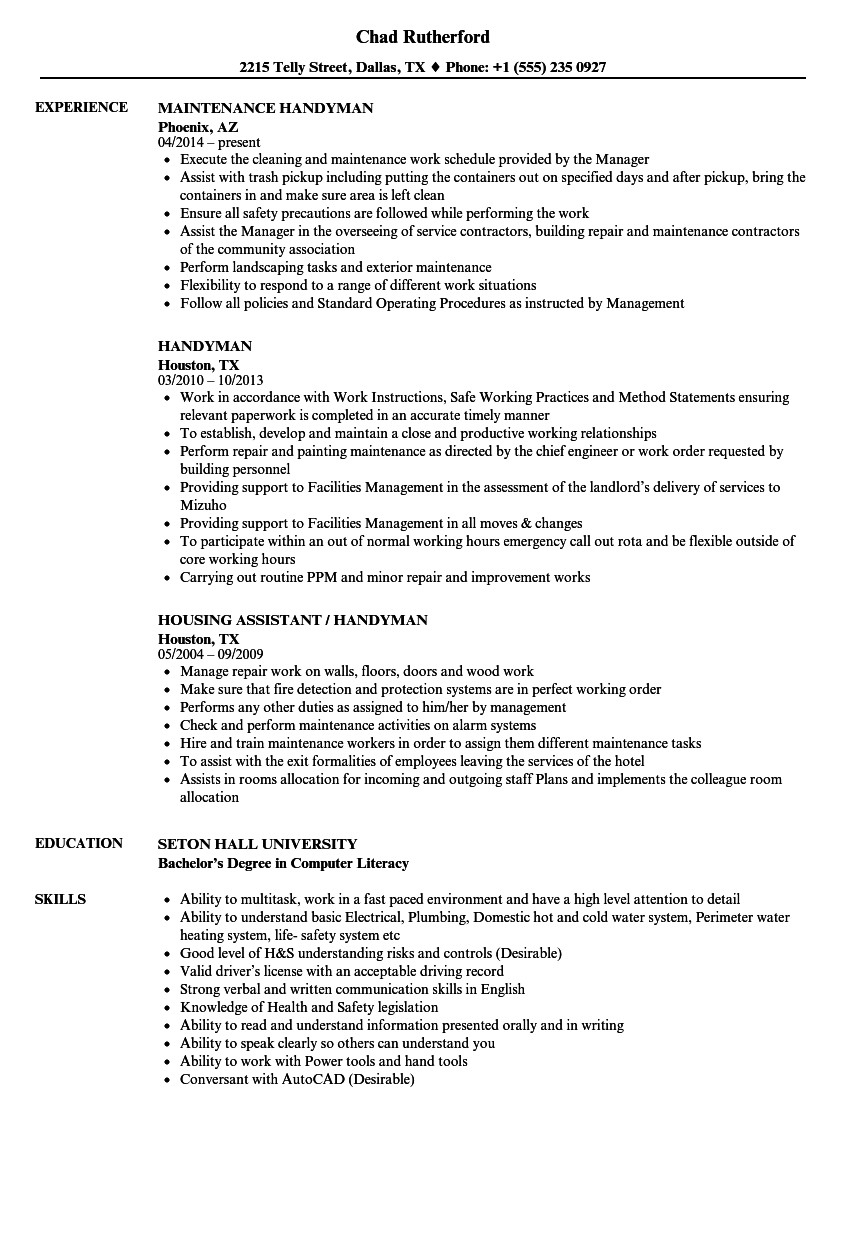 Handyman Resume Samples Velvet Jobs