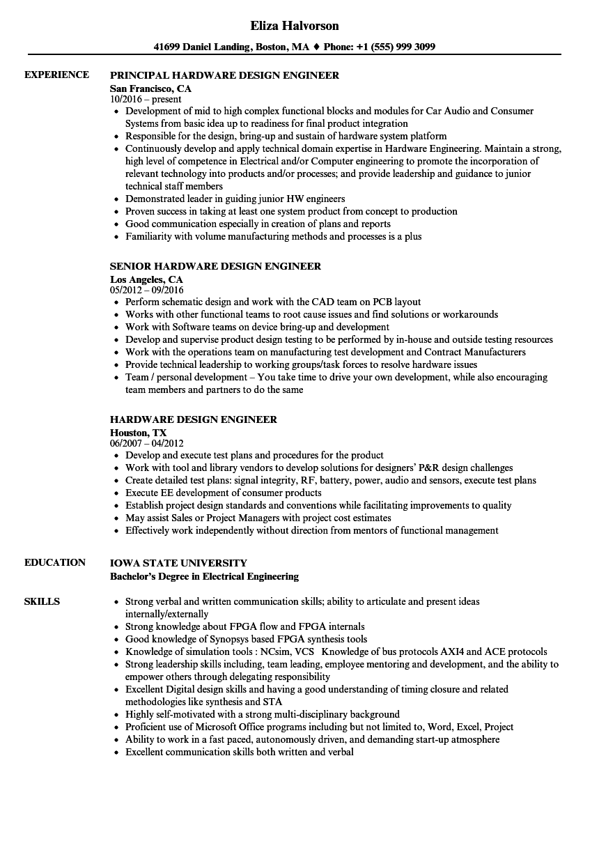Hardware Design Engineer Resume Samples Velvet Jobs