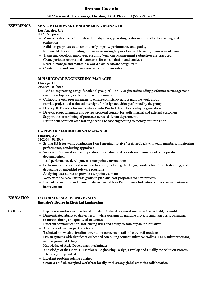 download hardware engineering manager resume sample as image file - Engineering Manager Resume