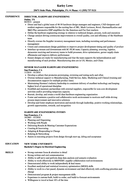 Hardware Engineering Resume Samples | Velvet Jobs