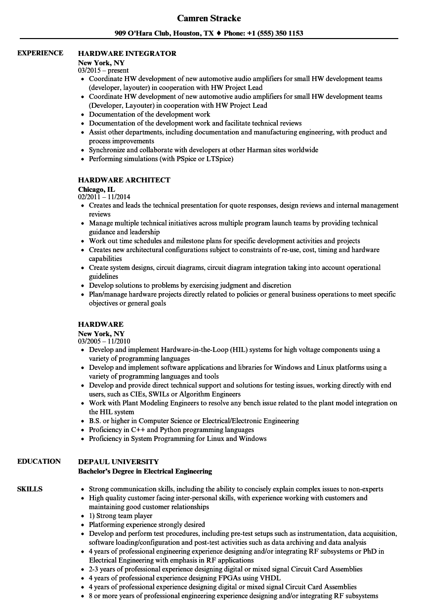 Hardware Resume Samples   Velvet