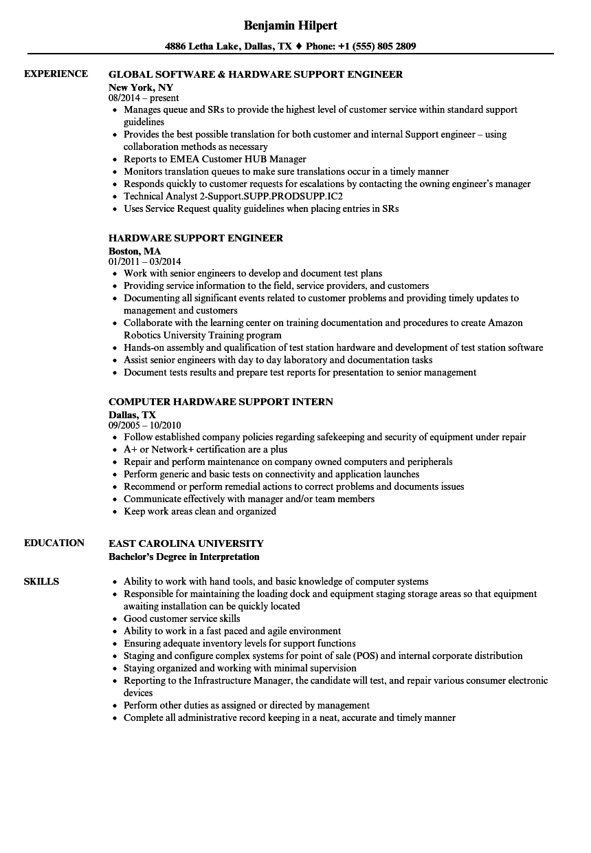 hardware support resume samples