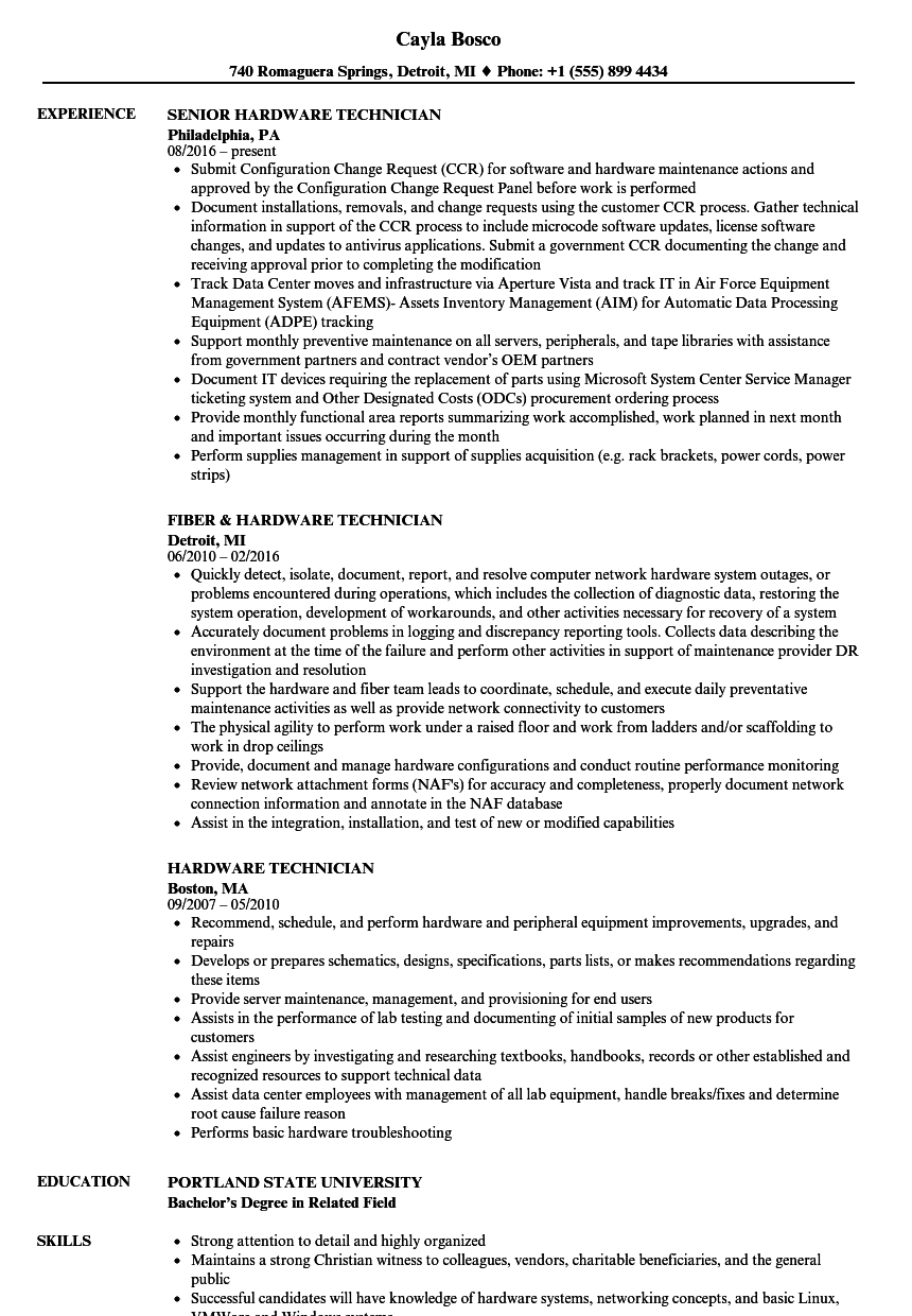 Hardware Technician Resume Samples | Velvet Jobs