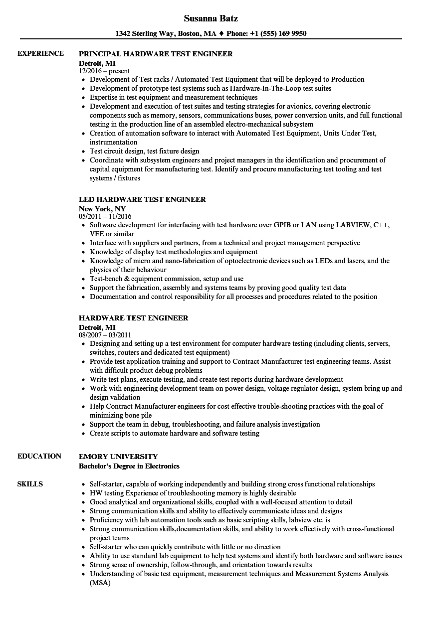 hardware test engineer resume samples