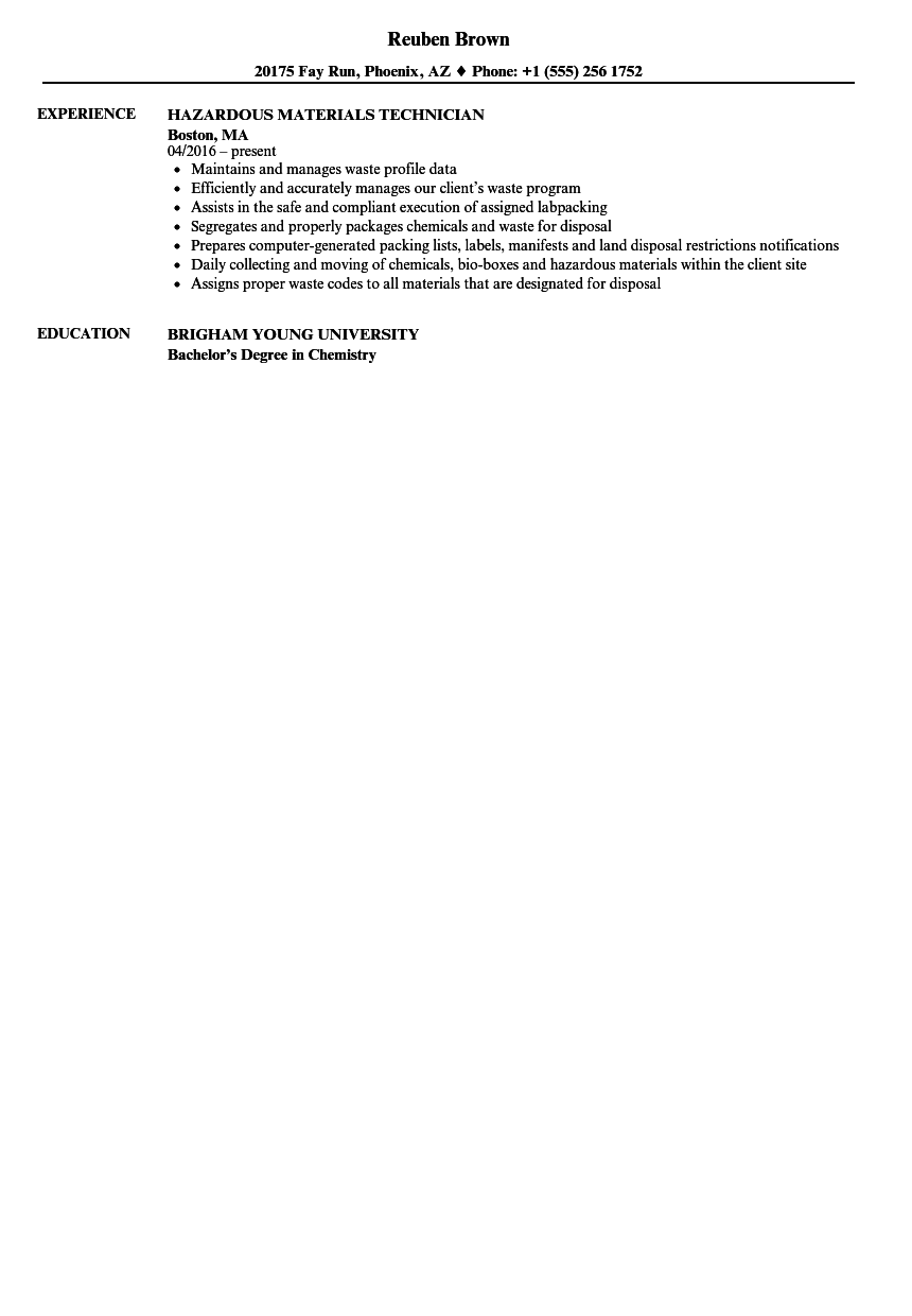 hazardous materials technician resume samples
